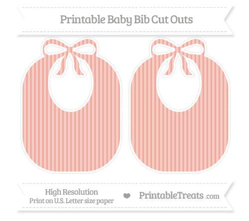 Free Pastel Coral Thin Striped Pattern Large Baby Bib Cut Outs
