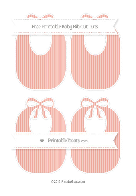 Free Pastel Coral Thin Striped Pattern Medium Baby Bib Cut Outs