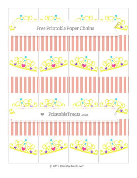 Free Pastel Coral Thin Striped Pattern Princess Tiara Paper Chains