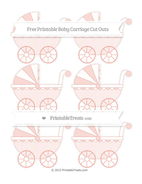 Free Pastel Coral Thin Striped Pattern Small Baby Carriage Cut Outs