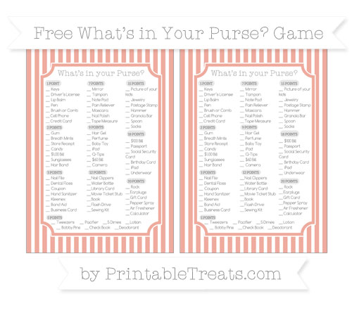 Free Pastel Coral Thin Striped Pattern What's in Your Purse Baby Shower Game