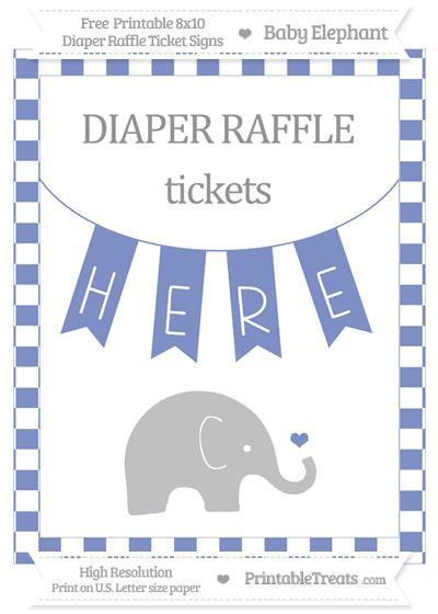 Free Pastel Dark Blue Checker Pattern Baby Elephant 8x10 Diaper Raffle Ticket Sign