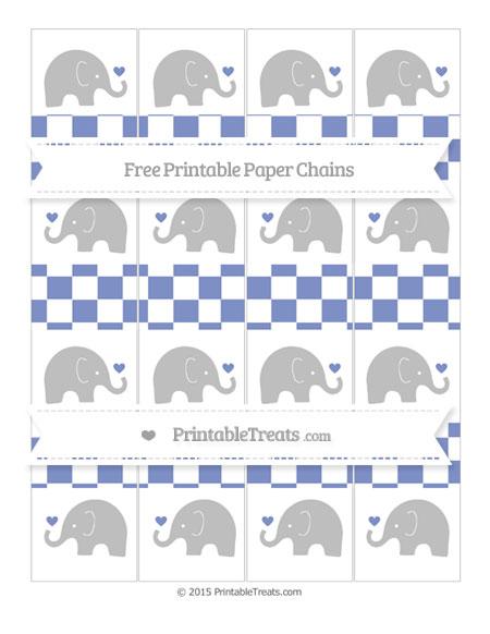 Free Pastel Dark Blue Checker Pattern Baby Elephant Paper Chains