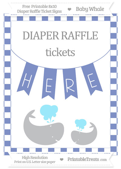 Free Pastel Dark Blue Checker Pattern Baby Whale 8x10 Diaper Raffle Ticket Sign