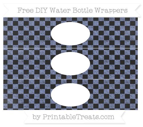 Free Pastel Dark Blue Checker Pattern Chalk Style DIY Water Bottle Wrappers