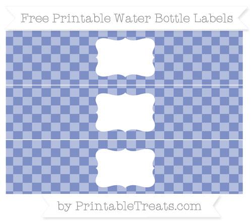 Free Pastel Dark Blue Checker Pattern Water Bottle Labels
