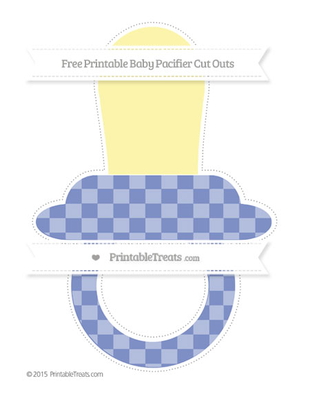 Free Pastel Dark Blue Checker Pattern Extra Large Baby Pacifier Cut Outs