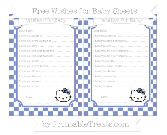 Free Pastel Dark Blue Checker Pattern Hello Kitty Wishes for Baby Sheets