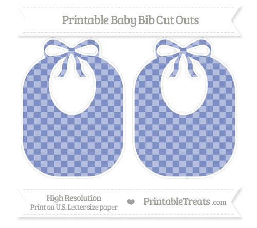 Free Pastel Dark Blue Checker Pattern Large Baby Bib Cut Outs