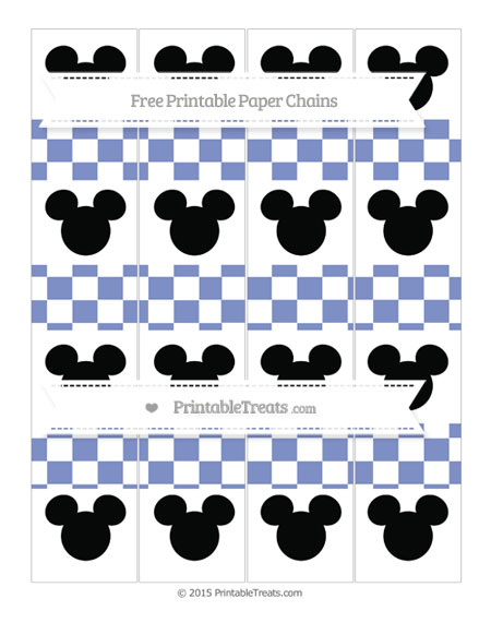 Free Pastel Dark Blue Checker Pattern Mickey Mouse Paper Chains