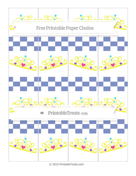 Free Pastel Dark Blue Checker Pattern Princess Tiara Paper Chains