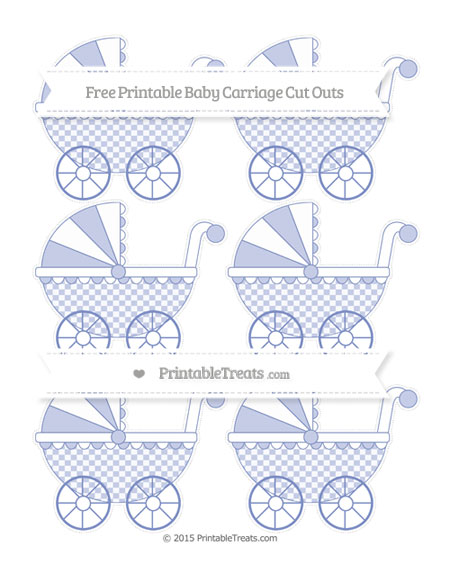 Free Pastel Dark Blue Checker Pattern Small Baby Carriage Cut Outs