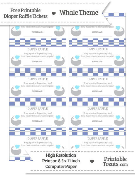 Free Pastel Dark Blue Checker Pattern Whale Diaper Raffle Tickets