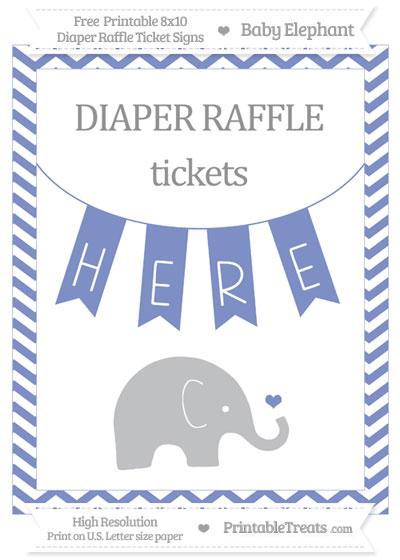 Free Pastel Dark Blue Chevron Baby Elephant 8x10 Diaper Raffle Ticket Sign