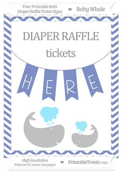 Free Pastel Dark Blue Chevron Baby Whale 8x10 Diaper Raffle Ticket Sign