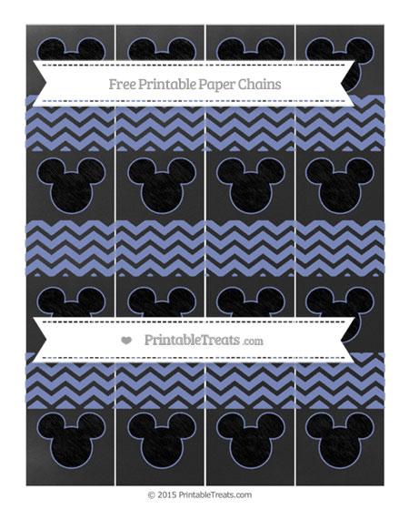 Free Pastel Dark Blue Chevron Chalk Style Mickey Mouse Paper Chains