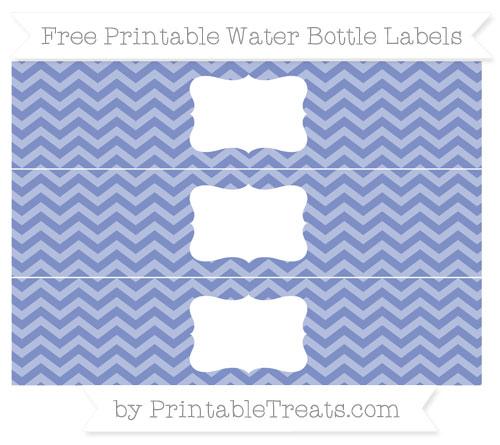 Free Pastel Dark Blue Chevron Water Bottle Labels