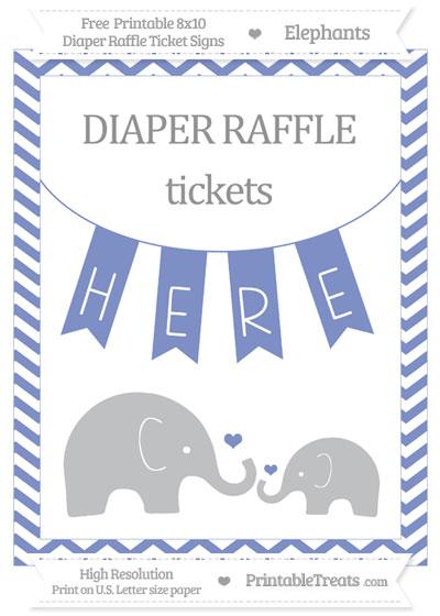 Free Pastel Dark Blue Chevron Elephant 8x10 Diaper Raffle Ticket Sign