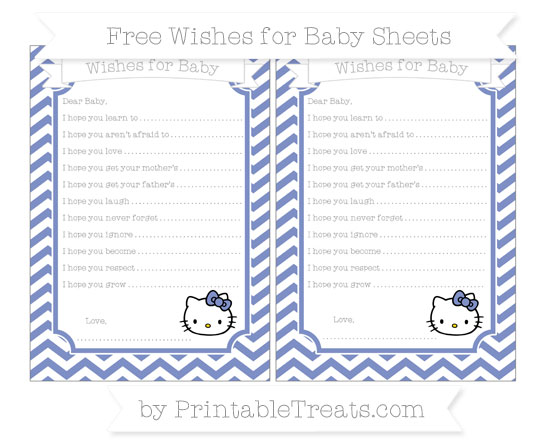 Free Pastel Dark Blue Chevron Hello Kitty Wishes for Baby Sheets