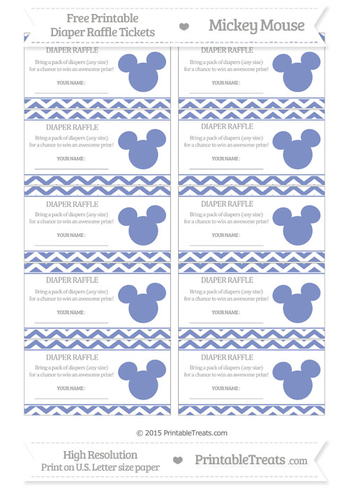 Free Pastel Dark Blue Chevron Mickey Mouse Theme Diaper Raffle Tickets