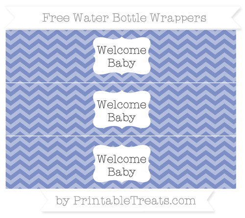 Free Pastel Dark Blue Chevron Welcome Baby Water Bottle Wrappers