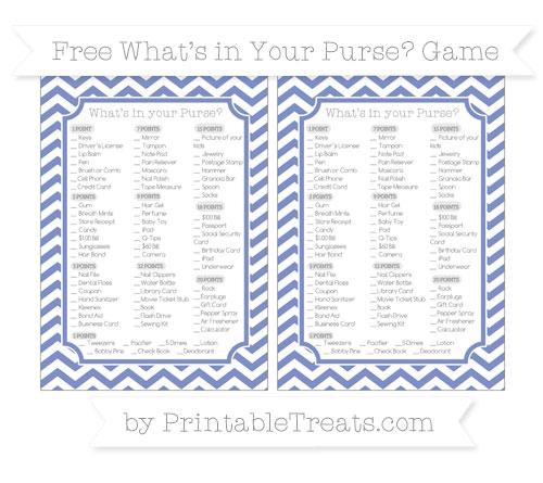 Free Pastel Dark Blue Chevron What's in Your Purse Baby Shower Game