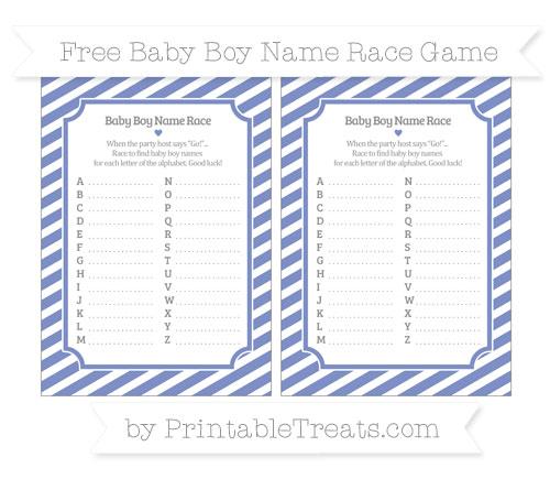 Free Pastel Dark Blue Diagonal Striped Baby Boy Name Race Game