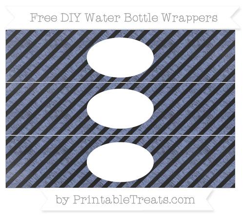 Free Pastel Dark Blue Diagonal Striped Chalk Style DIY Water Bottle Wrappers