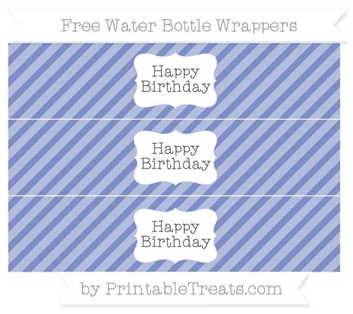 Free Pastel Dark Blue Diagonal Striped Happy Birhtday Water Bottle Wrappers