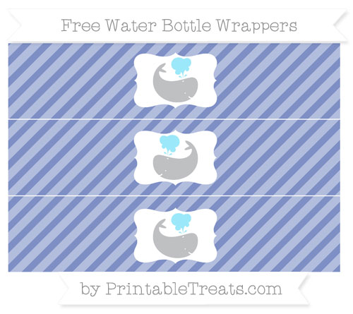 Free Pastel Dark Blue Diagonal Striped Whale Water Bottle Wrappers