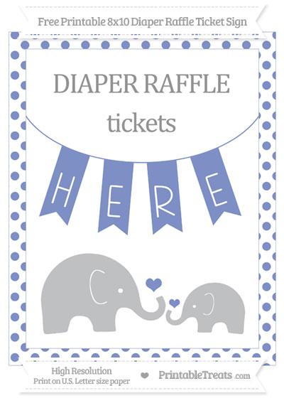 Free Pastel Dark Blue Dotted Elephant 8x10 Diaper Raffle Ticket Sign