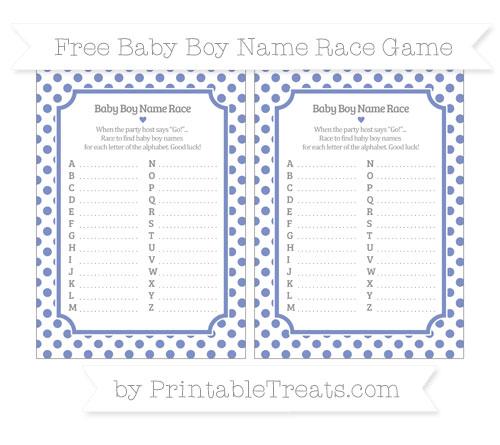 Free Pastel Dark Blue Dotted Pattern Baby Boy Name Race Game