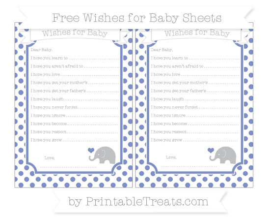 Free Pastel Dark Blue Dotted Pattern Baby Elephant Wishes for Baby Sheets