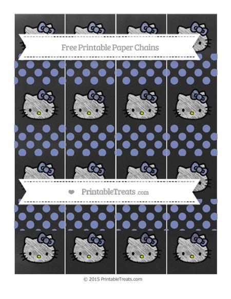 Free Pastel Dark Blue Dotted Pattern Chalk Style Hello Kitty Paper Chains