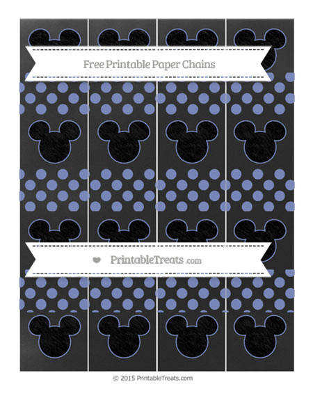 Free Pastel Dark Blue Dotted Pattern Chalk Style Mickey Mouse Paper Chains