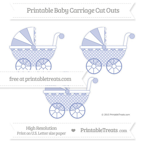Free Pastel Dark Blue Dotted Pattern Medium Baby Carriage Cut Outs