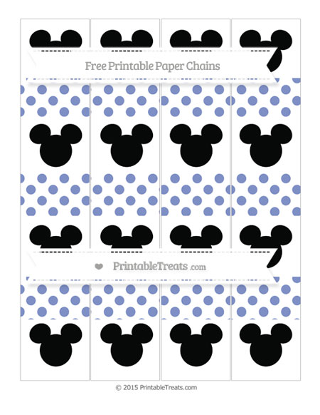 Free Pastel Dark Blue Dotted Pattern Mickey Mouse Paper Chains