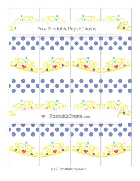 Free Pastel Dark Blue Dotted Pattern Princess Tiara Paper Chains