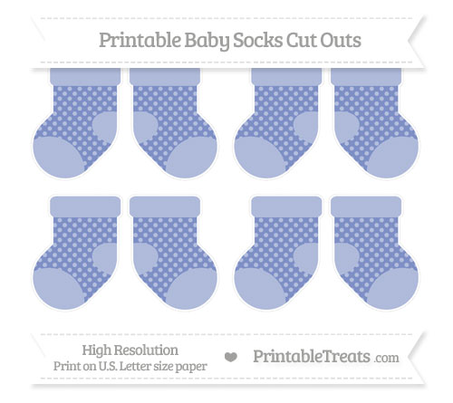 Free Pastel Dark Blue Dotted Pattern Small Baby Socks Cut Outs