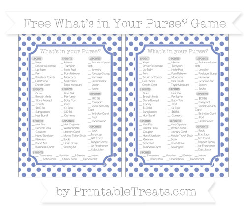 Free Pastel Dark Blue Dotted Pattern What's in Your Purse Baby Shower Game