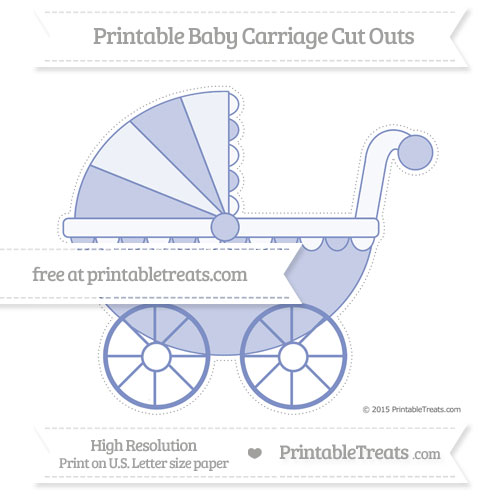 Free Pastel Dark Blue Extra Large Baby Carriage Cut Outs