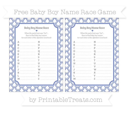 Free Pastel Dark Blue Fish Scale Pattern Baby Boy Name Race Game