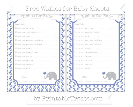 Free Pastel Dark Blue Fish Scale Pattern Baby Elephant Wishes for Baby Sheets