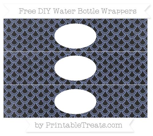 Free Pastel Dark Blue Fish Scale Pattern Chalk Style DIY Water Bottle Wrappers