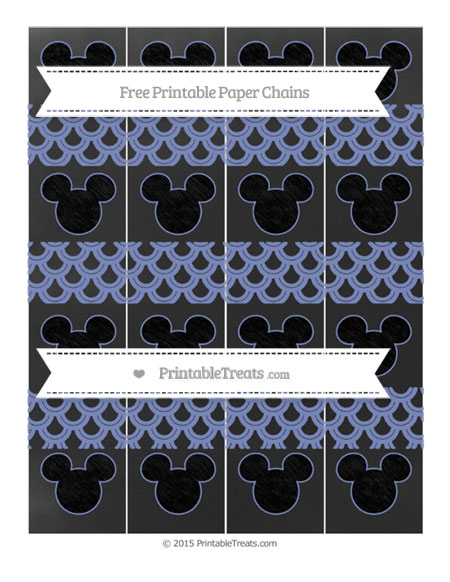 Free Pastel Dark Blue Fish Scale Pattern Chalk Style Mickey Mouse Paper Chains