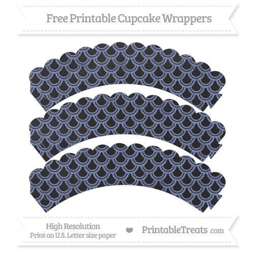 Free Pastel Dark Blue Fish Scale Pattern Chalk Style Scalloped Cupcake Wrappers