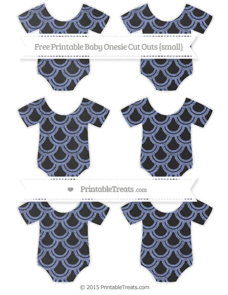 Free Pastel Dark Blue Fish Scale Pattern Chalk Style Small Baby Onesie Cut Outs