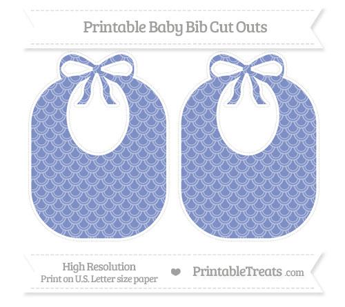 Free Pastel Dark Blue Fish Scale Pattern Large Baby Bib Cut Outs