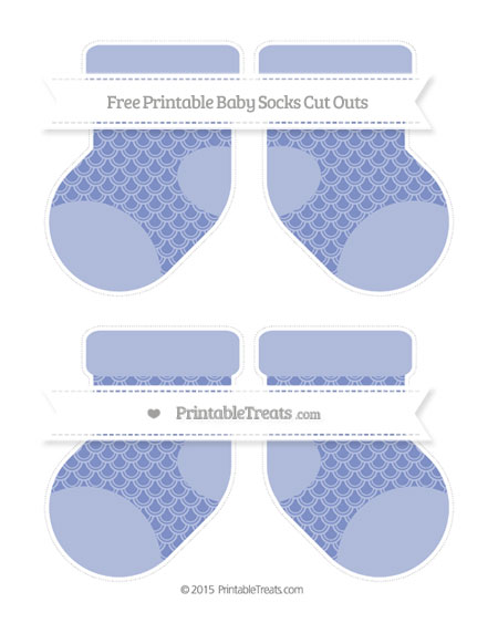 Free Pastel Dark Blue Fish Scale Pattern Medium Baby Socks Cut Outs
