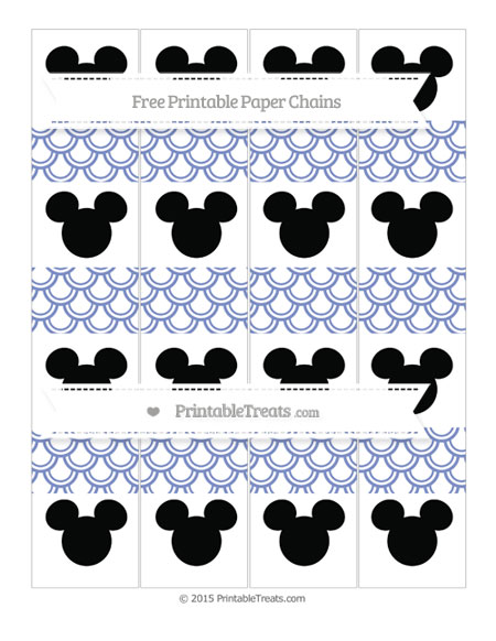 Free Pastel Dark Blue Fish Scale Pattern Mickey Mouse Paper Chains
